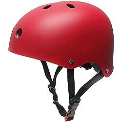 Casco Infantil Rojo Patinaje Niños Niñas Deportivos Tamaño Ajustable 48-52cm Transpirable Para Bicicleta Monopatín Skate Scooter (Rojo)