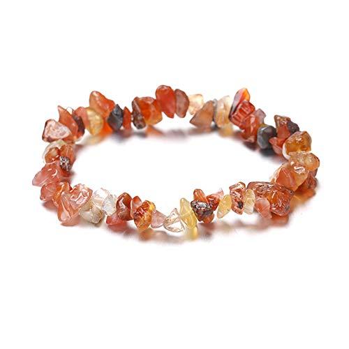 MHOOOA Naturstein Chip Perlen Stretchy Armband Ethnischen Stil Farbigen Stein Armband (Jade-chip-armband)