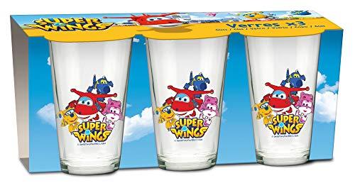 empireposter Glas-Set - Super Wings - 237 ml - 3 Gläser - Trinkglas Kinder Geschirr