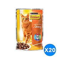 Purina Friskies with Chicken in Gravy Cat Food Single Serve Pouch Pack of 20 Pieces, 100g