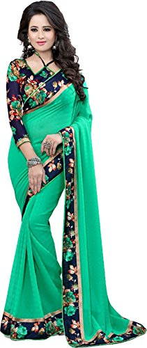 KAMELA SAREE Faux Georgette Saree With Blouse Piece (GreenVipul_MultiColor_Green_Free Size)