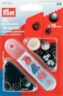 Nähfrei Anorak Druckknöpfe 15 mm brüniert