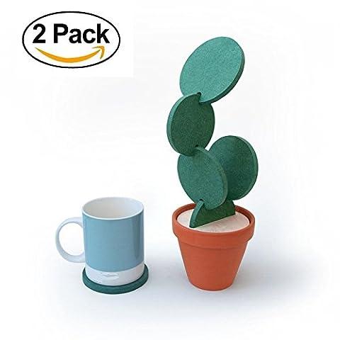 Ducomi® Kaktu - Dessous de verre Cactus avec Vase - Taille: Ø 8 cm (12 Dessous)