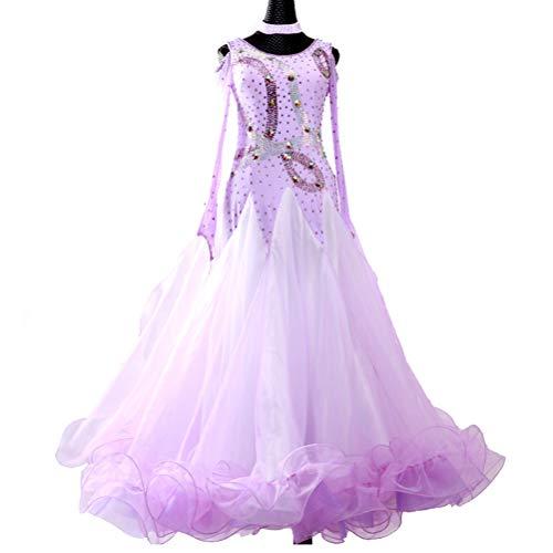 Tanz Kostüm End High - Professional Modern Dance Wettbewerb Kleid für Damen Ballsaal Performance Tanz Abnutzungs Big Swing Langarm Foxtrot Tango Dance Kostüme High-End,Lila,Customize