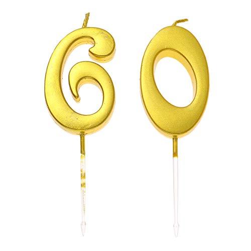Happyyami 60 pastel de cumpleaños número de toppers de postres selecciones de pastel de vela decoración suministros para fiestas (número 6 + 0)