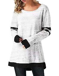 d27354372 Camiseta De Manga Larga De Cuello Redondo con Cuello Sencillos Redondo De  Manga Larga para Mujer Camiseta Larga De Punto Suelto…