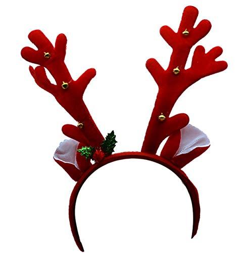 GYD Rentier Geweih Elchgeweih Rentiergeweih Haarreif Rudolph Rentier Geweih auf Haarreif Weihnacht Nikolaus Kostüm Verkleidung Zubehör Elch Geweih mit Glocken Braun (Elch Geweih Kostüm)