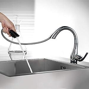 HOMELODY Grifo Extraíble para Fregadero Cocina 2 Funciones Ahorro de Agua 360°Giratorio con Mangueras Universales para…