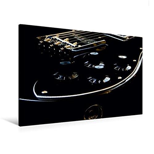 Premium Textil-Leinwand 120 cm x 80 cm quer, GOLD GLOW - Detailansicht einer Gitarre | Wandbild, Bild auf Keilrahmen, Fertigbild auf echter Leinwand, Leinwanddruck: Low-key Fotografie (CALVENDO Kunst)