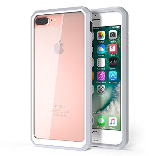 MoKo Hülle für iPhone 8 Plus / 7 Plus - [Kristall Durchsichtig Serie] Ultra Slim TPU + PC Handyhülle Crystal Clear Bumper Case Schutzhülle Schale für Apple iPhone 8 Plus / iPhone 7 Plus, Grau/Weiß Grau/Weiß