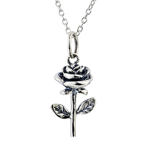 YFN Jewelry 925 Solid Sterling Silver 3D Rose flowers Pendant Necklace Charm Dew chain 18 by YFN
