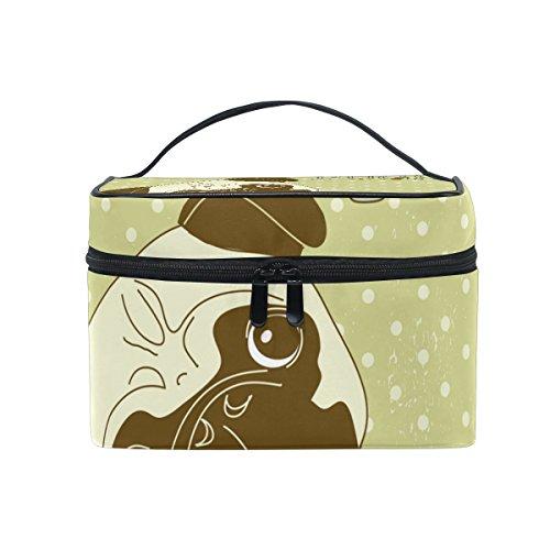 COOSUN Ich liebe Möpse Cosmetic Bag Canvas Travel Kulturbeutel Top Single Layer Make-up-Beutel-Organisator Multi-Funktions-kosmetischer Fall Griff für Groß Mehrfarbig -