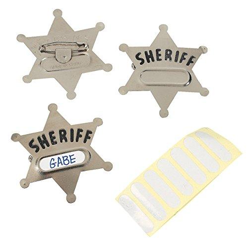 Sheriffstern mit Namensschild für Cowboy und Indianer 12 Stück Palandi (Cowboy Und Indianer Paar Kostüm)