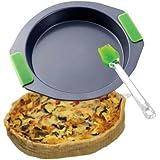 Molde para horno (Acero de Carbono, 20cm de diámetro (–Molde de horno para quiche, Back Sartén, bandeja, asas de silicona, Naranja)