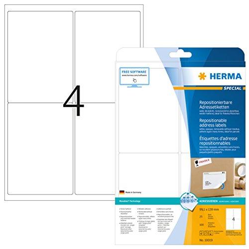 Herma 10019 Adressetiketten ablösbar, wieder haftend (99,1 x 139 mm) weiß, 100 Adressaufkleber, 25 Blatt DIN A4 Papier matt, bedruckbar, selbstklebend -
