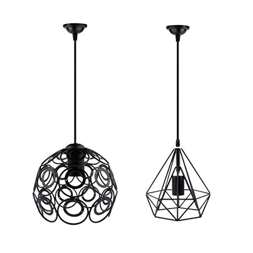 perfk 2pcs Lampe Suspension Abat-jour Plafonnier Cage Applique Murale Moderne Cristal Douille Lustre Vintage Retro Industriell