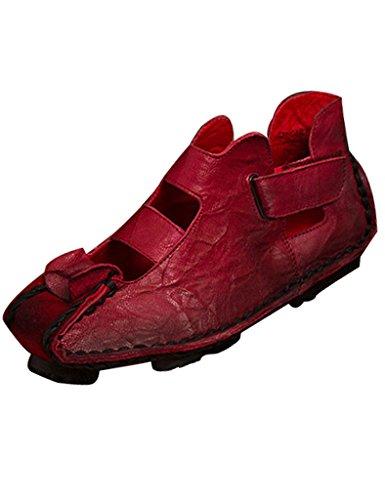Youlee Donna Pelle Velcro Piattaforma Sandali Scarpe Borgogna