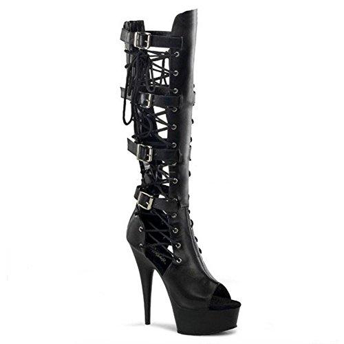 Sandali stivali lunghi cinghie fibbia in pelle super tacchi alti Nightclub Pole Dance Model Play performance scarpe, BLACK1-39 BLACK2-35