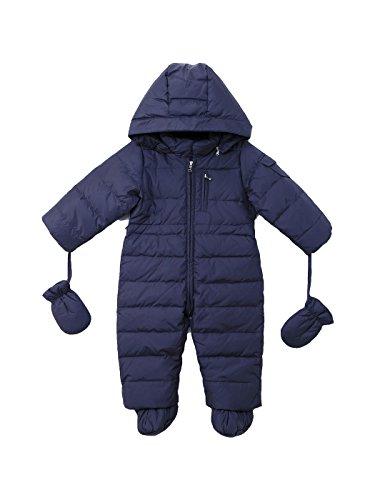 Bodysuit Druck Gepard (Oceankids Baby Säugling Mädchen Jungen Marineblau Schneeanzug mit Kapuze 0-3)