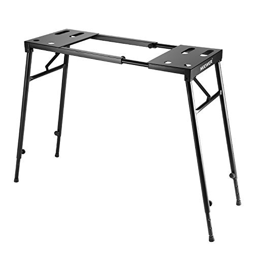 Neewer Supporto Stand Ripiegabile per Tastiera a 61 Tasti/76 Tasti/88 Tasti con Altezza Regolabile da 65cm a 110cm e Lunghezza Estensibile da 73cm a 130cm, Nero