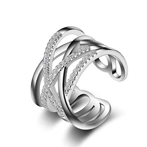 Crystal Cut Cross (Hddwzh Woman Ring, 925Er Sterling Silber Schmuck Weiblichen Mehrschichtiger Cross Flash Crystal Temperament Eröffnung Ringe)