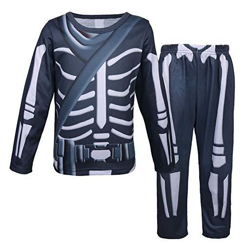 Halloween langärmelige Hose Skelett Grundierung Shirt Leggings Anzug Jungen und Mädchen spielen Kleidung