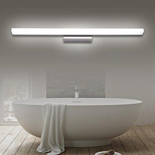 BiuTeFang 22W LED Luminaire Salle de Bain Eclairage Étanche Lumière Blanc Froid AC90-240V Lampe Miroir IP44 Applique Murale Acier Inoxydable 120CM
