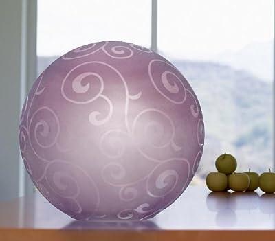 Vollglas Tischleuchte Kugel Glasschirm mit Ornament, lila, inkl. Energiespar Leuchtmittel 1 x E14, max. 7W von Bella-Vita GmbH auf Lampenhans.de