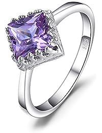 JewelryPalace Anillo de boda Clásico 1.4ct Cuadrado Solitario Creado Alejandrita Zafiro en plata de ley
