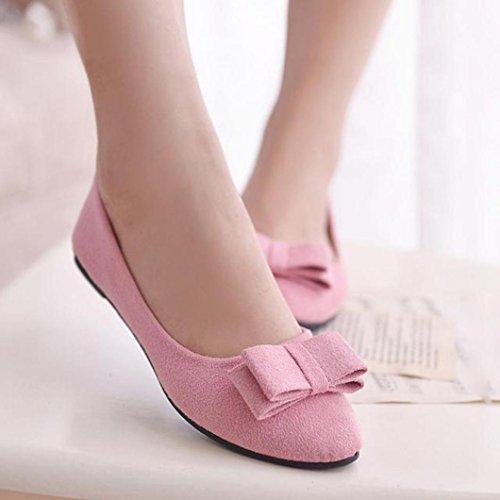 Omiky® 2017 Frauen Ballett Schuhe Arbeit Ebenen Fliege Slip Schuhe Boot Komfortable Schuhe Rosa