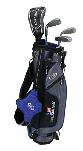 "U.S. Kids Golf Ultra Light 45"" Height, 4 Club Stand Golf Set with Bag, Grey/Blue, Right Hand"