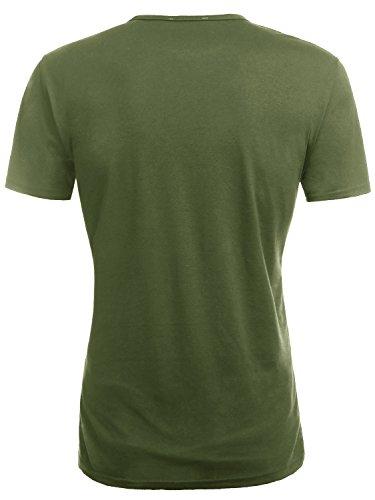 KAIUSI Herren Slim Fit Kurzarm Basic V-Ausschnitt Tee NOOS T-Shirt Militaer Gruen