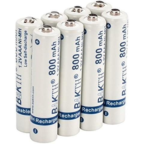 BAKTH - Juego de 8 pilas Recargables 800mAh AAA NiMH Baterías Recargables