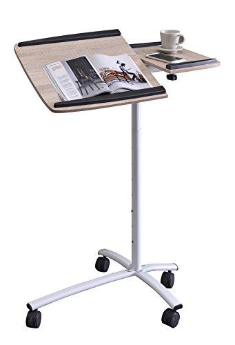 SixBros. Office - Tavolino porta pc notebook rovere/bianco - B-001N/2079 - MDF rovere - Struttura metallo