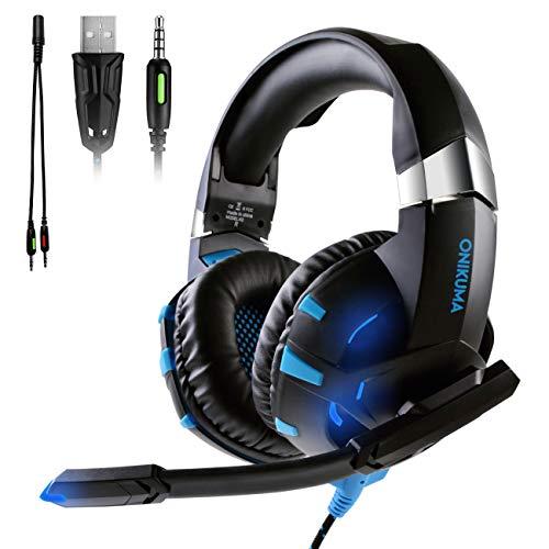 ATUTEN Auriculares Gaming para Xbox One / PS4 - Onikuma K2 3.5mm Cancelación de Ruido Auriculares con Micrófono Omnidireccional, Luces LED USB, Auricu