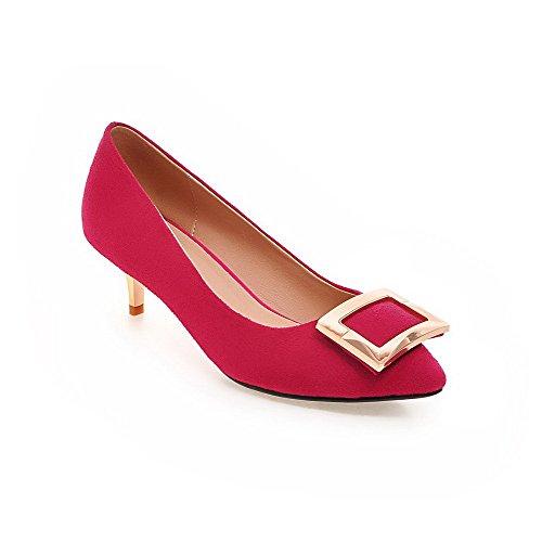 AgooLar Damen Rein Mattglasbirne Mittler Absatz Ziehen auf Spitz Zehe Pumps Schuhe, Pink, 43