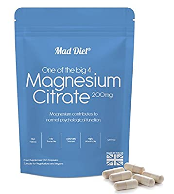 Mad Diet Magnesium Citrate 200mg – Practitioner Quality - 60 Capsules by Firinn Health Ltd