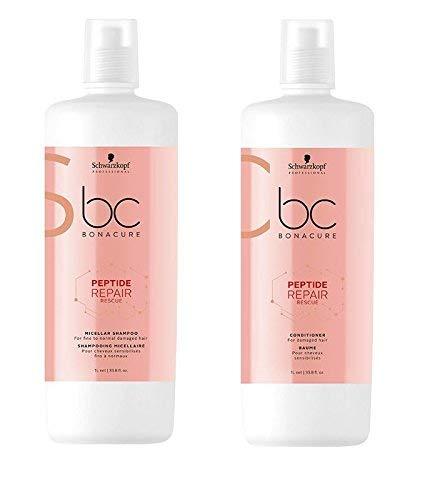 Schwarzkopf Bonacure Peptide Repair Rescue Micellar Shampoo 1000ml & Conditioner 1000ml -