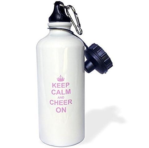 liandun Keep Calm and Cheer on-carry sur réconfortants Sport bouteille d'eau, 21oz, blanc