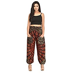 Skirts & Scarves SnS Rayon Printed Black Harem/Yoga Pants with Pockets Traditional Indian Design