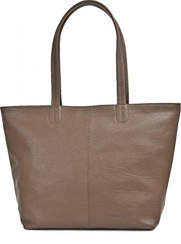 Shopper aus Leder, Braun - elegante Handtasche mit Reißverschluss, Schultertasche für Uni, Schule, Arbeit - für Tablet, Portemonnaie - 45 x 29 x 16 cm - Ledertasche von PHIL+SOPHIE
