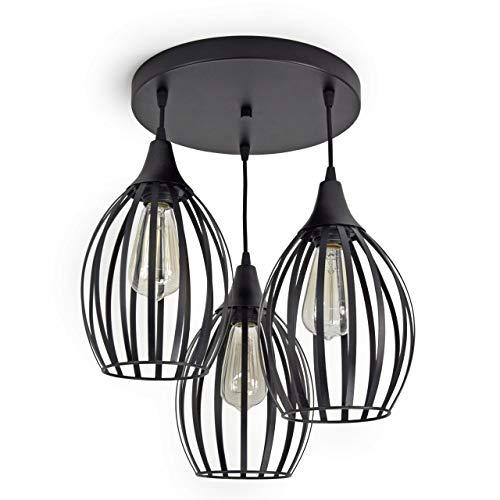 FKL Deckenleuchte Pendellampe Innen-Beleuchtung Hängelampe Wandlampe Designer Lampe Leuchte Modern Schwarz Brillant viele Varianten 730 (Deckenlampe 730-E3)