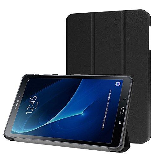 Samsung Galaxy Tab A 10.1 2016 (A6) Hülle, [mit Auto Schlaf / Wach Funktion], HZSSEC Ultra Dünn Schlank PU Leder Superleicht Ständer Smart Shell Cover Schutzhülle Etui Tasche für Samsung Galaxy Tab A 10,1 Zoll T580N / T585N Tablet, Schwarz