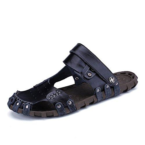 Xing Lin Sandales DÉté MenS Sandales En Cuir Fait Main _ Respirante Semelle En Caoutchouc Sandales Hommes black