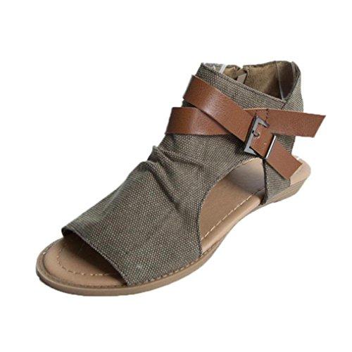 VJGOAL Damen Sandalen, Damen Mädchen Mode Hanf Roma Fisch Mund Schuhe Flache Ferse Solide Knöchelriemen Party Slipper Frau Geschenk (36 EU, Kaffee)