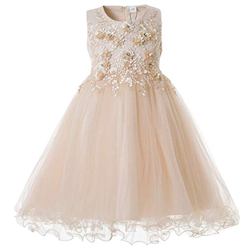 KOKOUK Formal Girls Party Dress Sleeveless Flower Girl Princess Ball Gown for 2 to 11 Years Old (Yellow) Baby Girls Pink Check