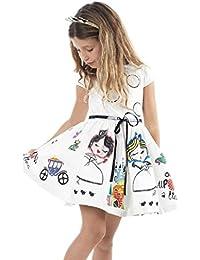 Niña princesa vestido,Sonnena ❤️ ❤️ ❤️ Blanco Bohemian Patrón de dibujos animados vestido de Verano Primaver manga corto ropa de fiesta de la princesa casual y elegante estilo para chica joven (BLANCO, 2-3 años)