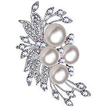 Haodou Rhinestone Perla de imitación Flor diseño Broche Nupcial Broche de la Torta del Zapato de