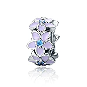 featherwish Orchidee lila 925 Sterling Silber Spacer Charme mit Blau Zirkonia für Pandora Armband