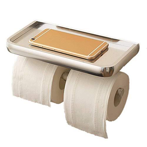 GWM Doppelter Toilettenpapierhalter für das Badezimmer Wandmontierte Bohranlage mit mobilem Lagerregal Space Aluminium-Rollenhalter, 26 × 11 × 13 cm
